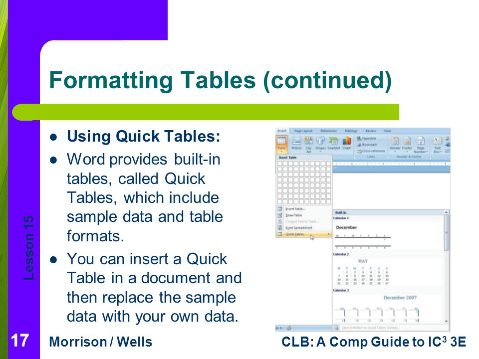 Lesson 15 Morrison / WellsCLB: A Comp Guide to IC 3 3E 17 Formatting Tables (continued) Using Quick Tables: Word provides built-in tables, called Quick Tables, which include sample data and table formats.