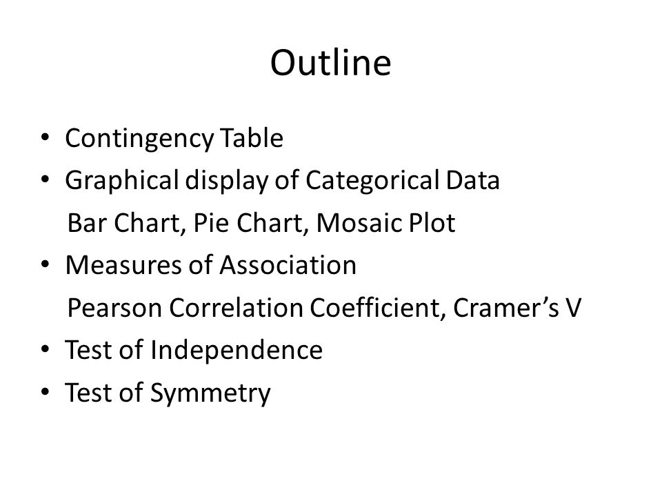 Outline Contingency Table Graphical display of Categorical Data Bar Chart, Pie Chart, Mosaic Plot Measures of Association Pearson Correlation Coefficient, Cramers V Test of Independence Test of Symmetry