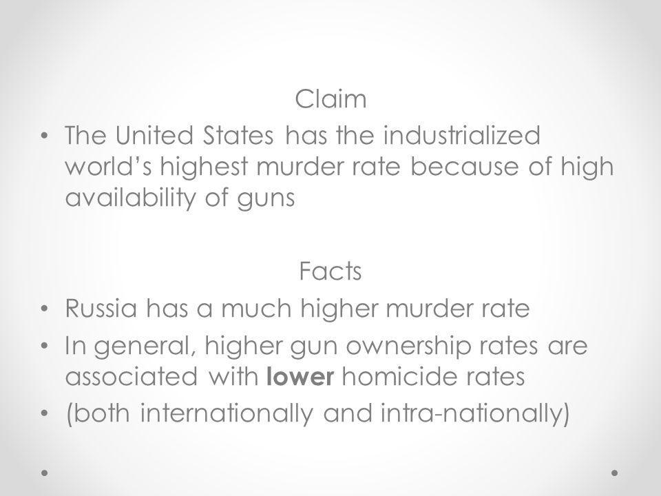 Comparing homicide rates: United States and Russia (per 100,000 people) YearUSARussia (USSR) 1960s5.514 1990s8.124 20025.620.5 20095.015