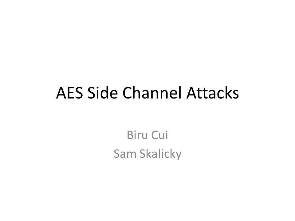 Outline AES algorithm Side channel attacks Side channel attack against AES Cache-collision timing attack against AES Countermeasures