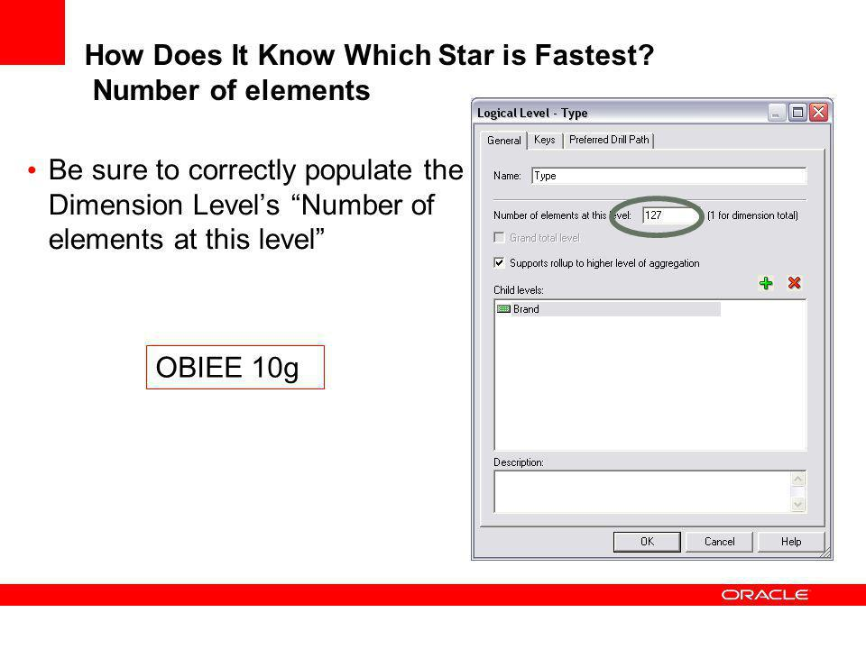 How Does It Know Which Star is Fastest? Number of elements Be sure to correctly populate the Dimension Levels Number of elements at this level OBIEE 1