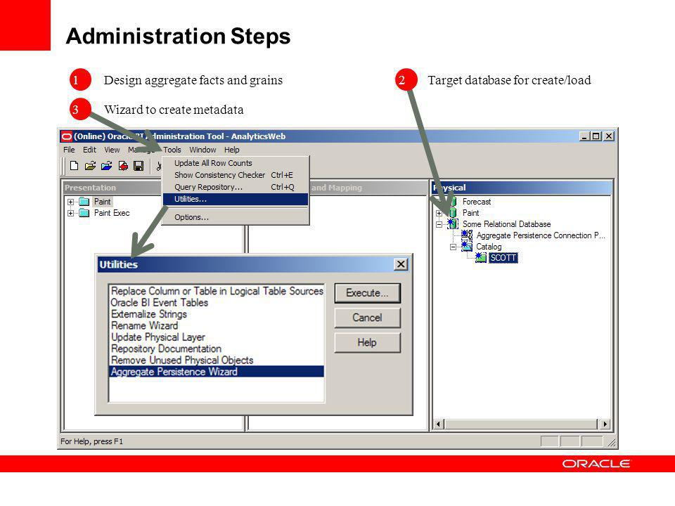 Administration Steps Design aggregate facts and grains Wizard to create metadata 1 Target database for create/load 3 2