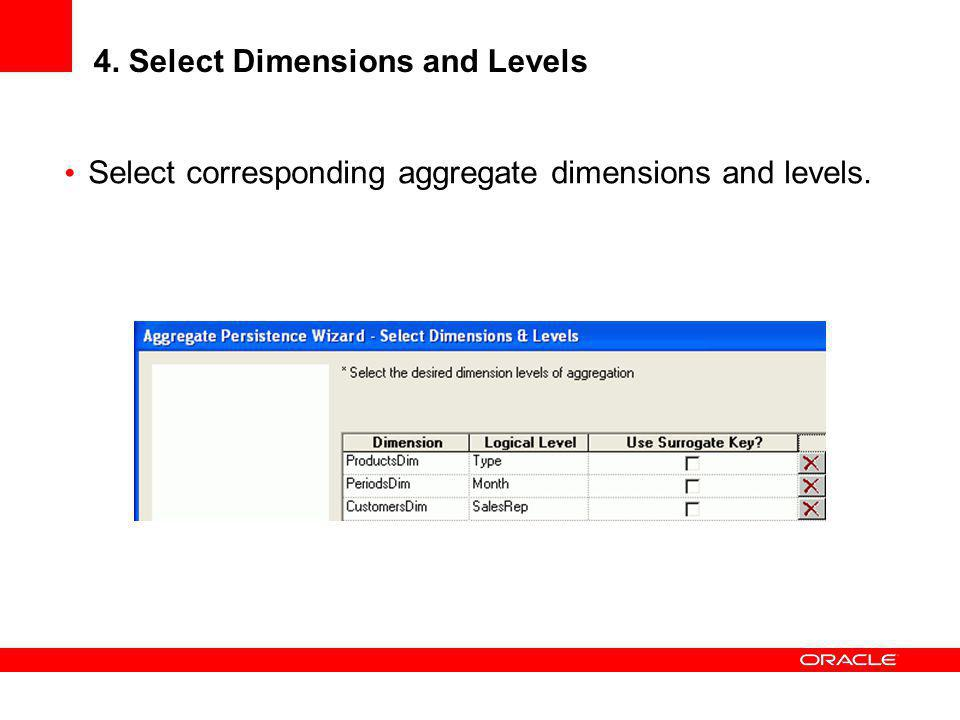 4. Select Dimensions and Levels Select corresponding aggregate dimensions and levels.