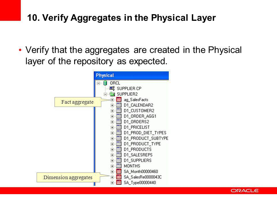 10. Verify Aggregates in the Physical Layer Verify that the aggregates are created in the Physical layer of the repository as expected. Fact aggregate
