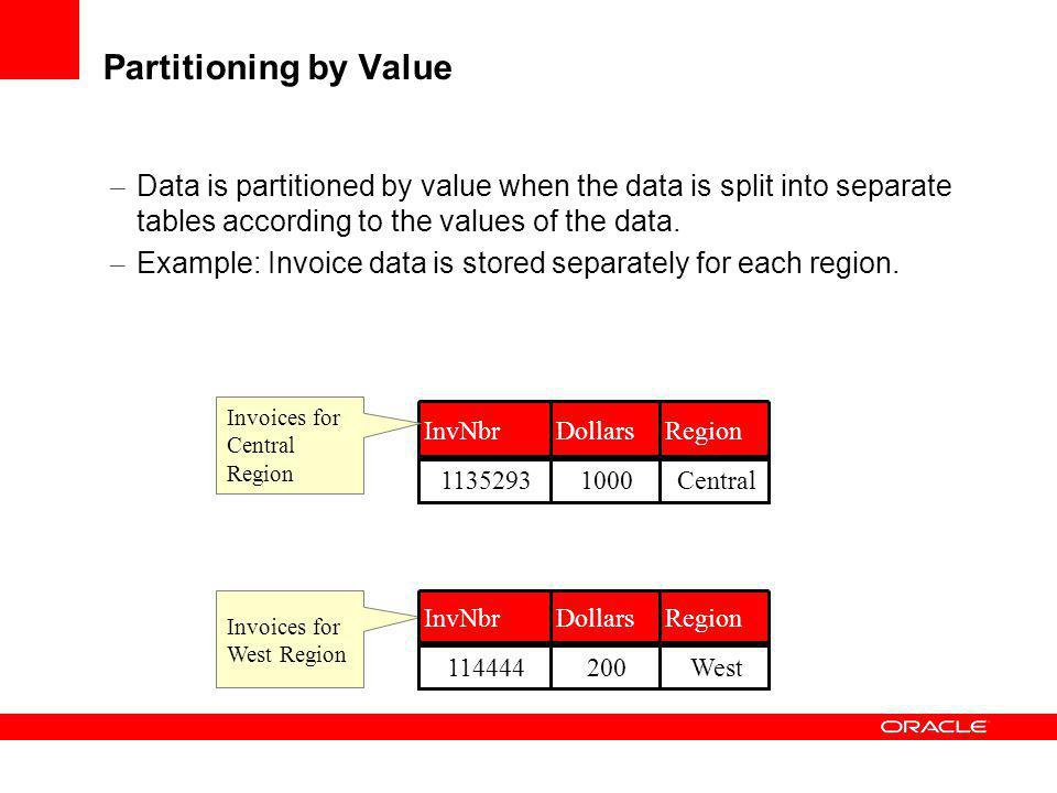 Partitioning by Value – Data is partitioned by value when the data is split into separate tables according to the values of the data. – Example: Invoi