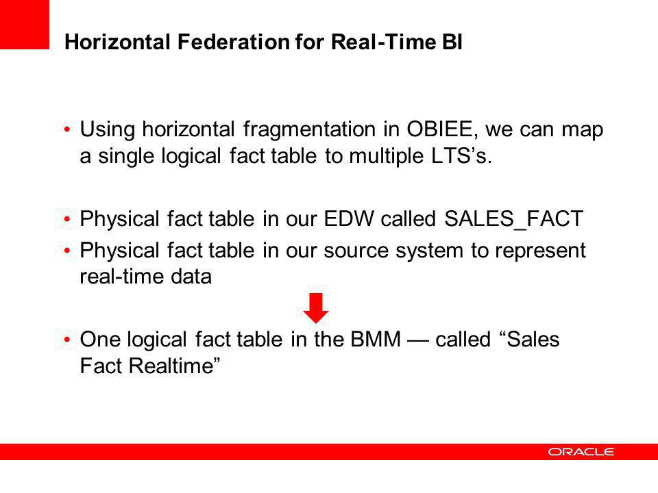 Horizontal Federation for Real-Time BI Using horizontal fragmentation in OBIEE, we can map a single logical fact table to multiple LTSs. Physical fact