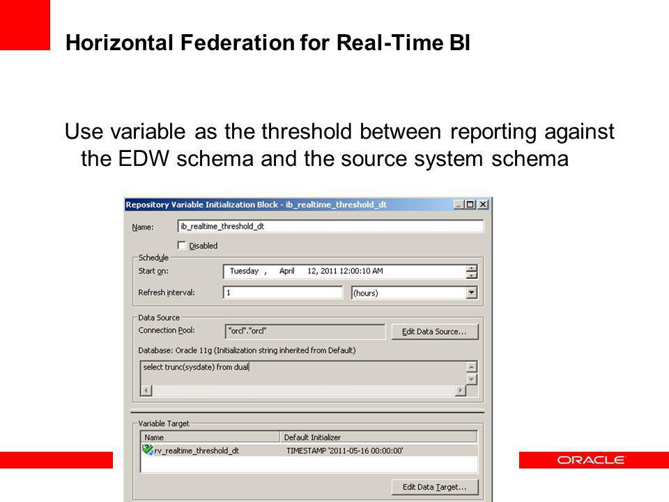 Horizontal Federation for Real-Time BI Use variable as the threshold between reporting against the EDW schema and the source system schema