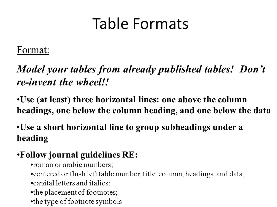 Table Formats Format: Model your tables from already published tables.