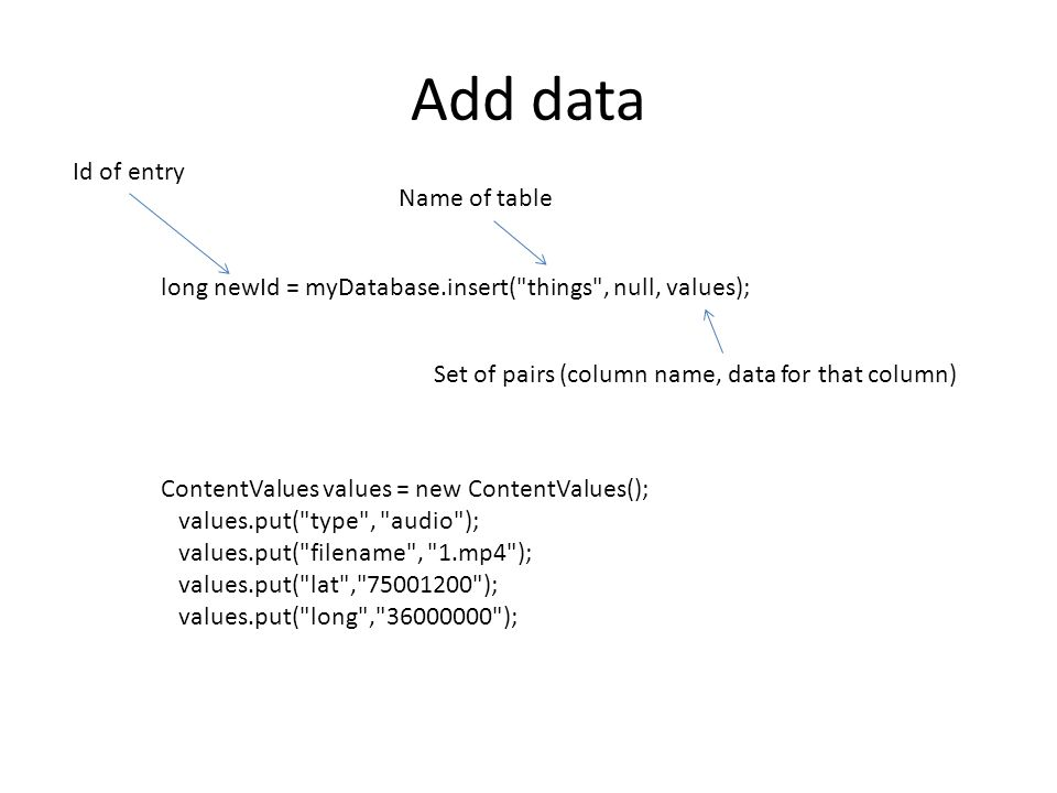Add data long newId = myDatabase.insert( things , null, values); Name of table Set of pairs (column name, data for that column) Id of entry ContentValues values = new ContentValues(); values.put( type , audio ); values.put( filename , 1.mp4 ); values.put( lat , 75001200 ); values.put( long , 36000000 );