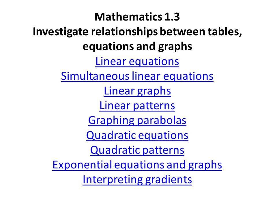 Mathematics 1.3 Investigate relationships between tables, equations and graphs Linear equations Simultaneous linear equations Linear graphs Linear patterns Graphing parabolas Quadratic equations Quadratic patterns Exponential equations and graphs Interpreting gradients Linear equations Simultaneous linear equations Linear graphs Linear patterns Graphing parabolas Quadratic equations Quadratic patterns Exponential equations and graphs Interpreting gradients