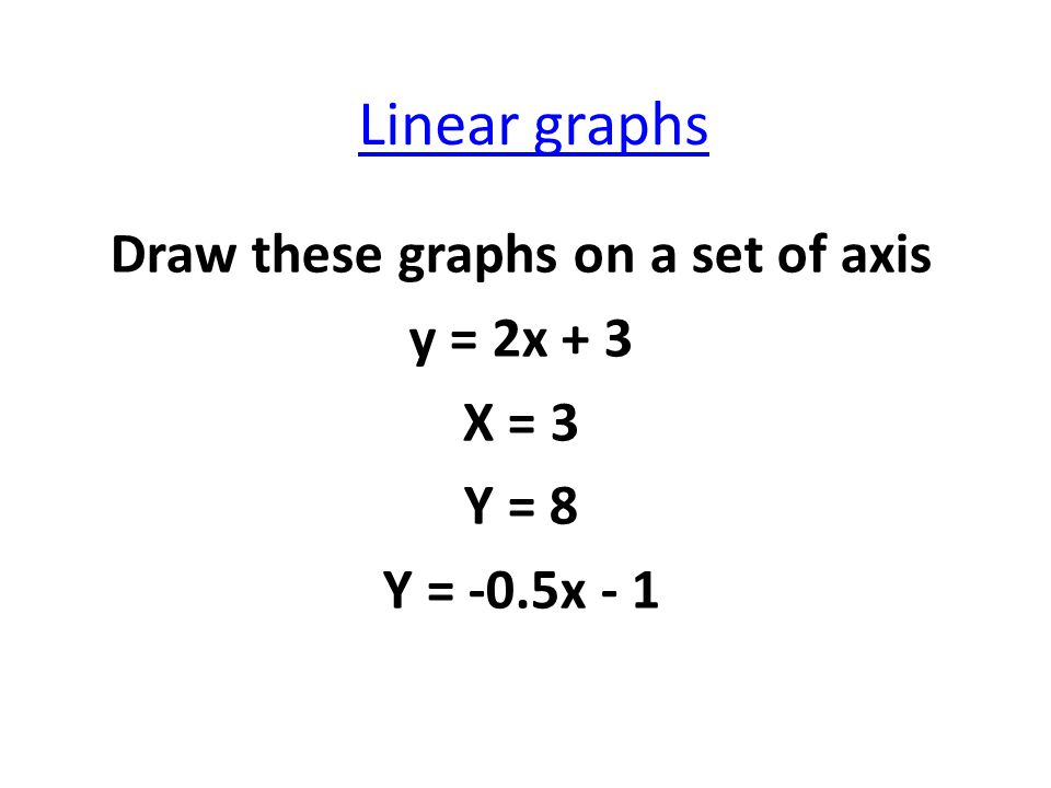 Linear graphs Draw these graphs on a set of axis y = 2x + 3 X = 3 Y = 8 Y = -0.5x - 1
