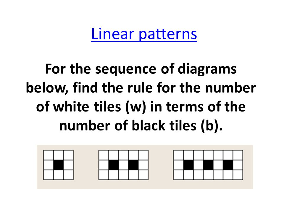 Linear patterns For the sequence of diagrams below, find the rule for the number of white tiles (w) in terms of the number of black tiles (b).