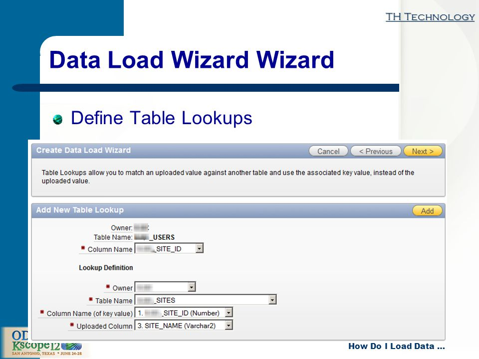 TH Technology How Do I Load Data … Data Load Wizard Wizard Define Table Lookups