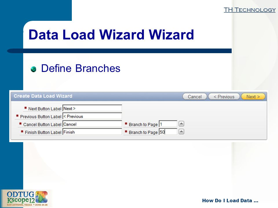 TH Technology How Do I Load Data … Data Load Wizard Wizard Define Branches