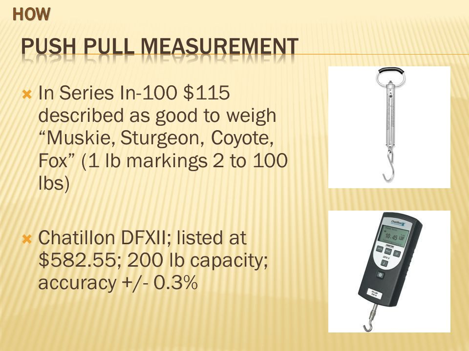 In Series In-100 $115 described as good to weigh Muskie, Sturgeon, Coyote, Fox (1 lb markings 2 to 100 lbs) Chatillon DFXII; listed at $582.55; 200 lb capacity; accuracy +/- 0.3%
