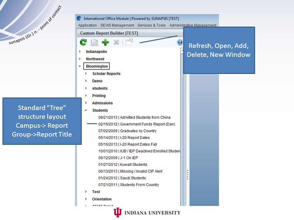 Refresh, Open, Add, Delete, New Window Standard Tree structure layout Campus-> Report Group->Report Title