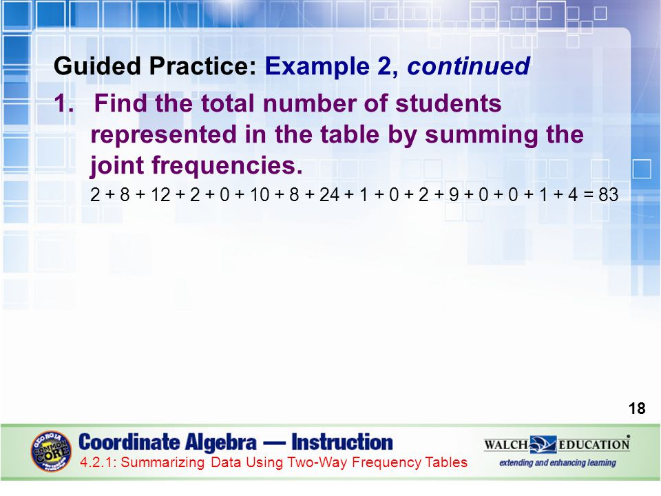 Guided Practice: Example 2, continued 1.Find the total number of students represented in the table by summing the joint frequencies.