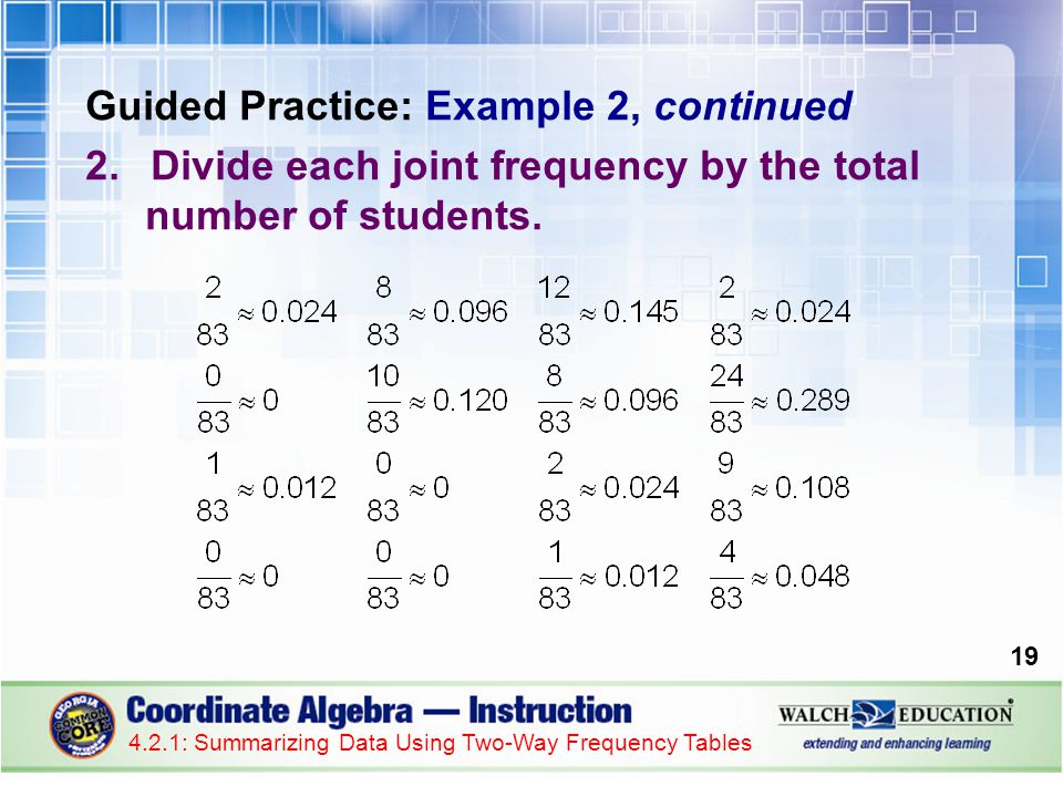 Guided Practice: Example 2, continued 2.Divide each joint frequency by the total number of students.