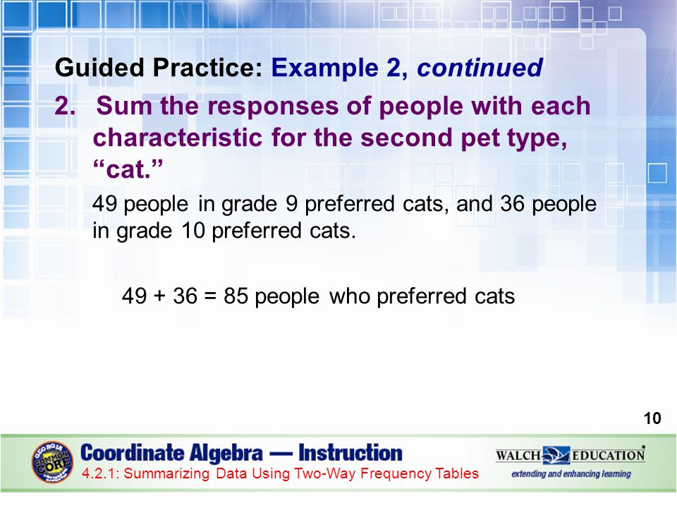 Guided Practice: Example 2, continued 2.Sum the responses of people with each characteristic for the second pet type, cat.