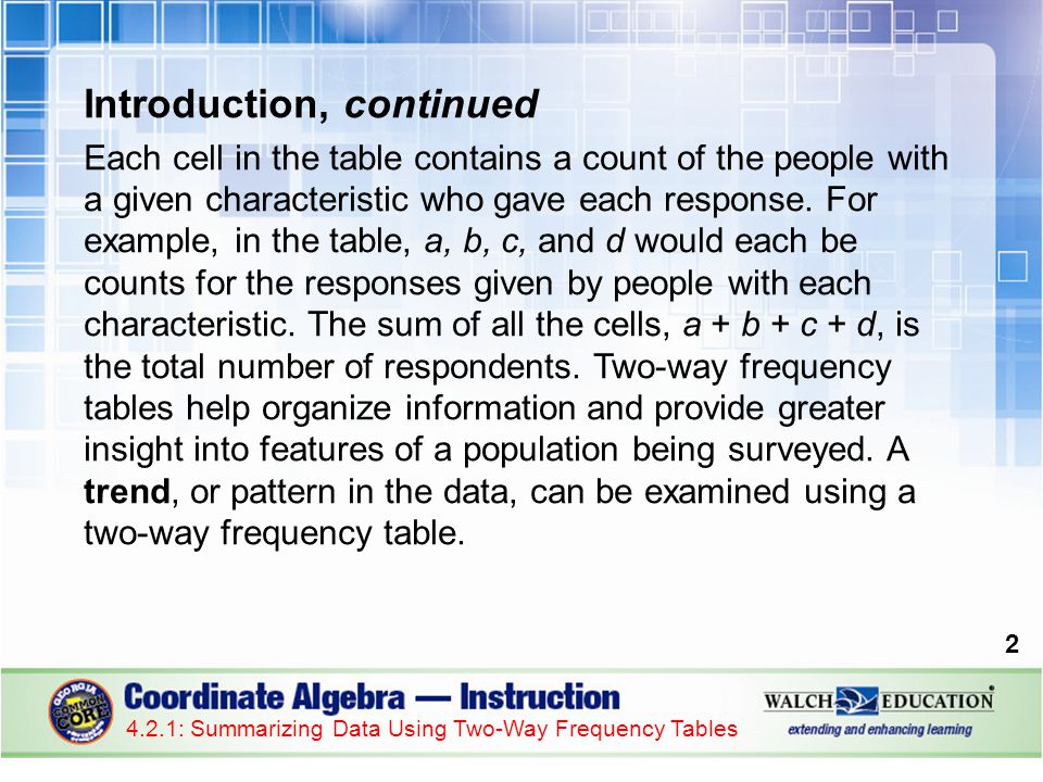 Guided Practice: Example 2, continued 5.Organize the marginal frequencies in a two-way frequency table.