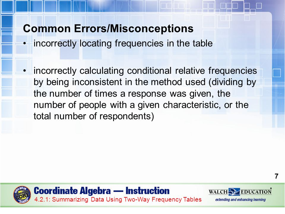 Guided Practice: Example 3, continued 2.Divide each joint frequency by the total number of students.