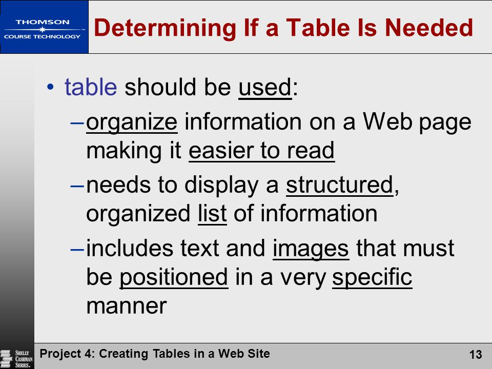 Project 4: Creating Tables in a Web Site 13 Determining If a Table Is Needed table should be used: –organize information on a Web page making it easie