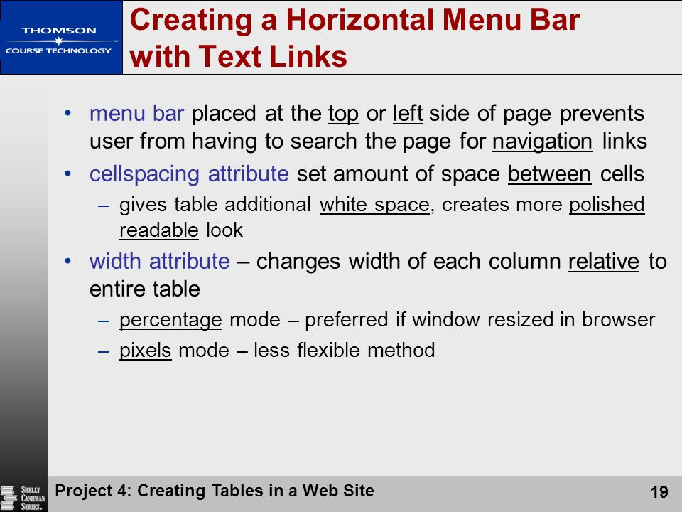 Project 4: Creating Tables in a Web Site 19 Creating a Horizontal Menu Bar with Text Links menu bar placed at the top or left side of page prevents user from having to search the page for navigation links cellspacing attribute set amount of space between cells –gives table additional white space, creates more polished readable look width attribute – changes width of each column relative to entire table –percentage mode – preferred if window resized in browser –pixels mode – less flexible method