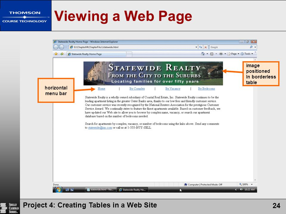 Project 4: Creating Tables in a Web Site 24 Viewing a Web Page image positioned In borderless table horizontal menu bar