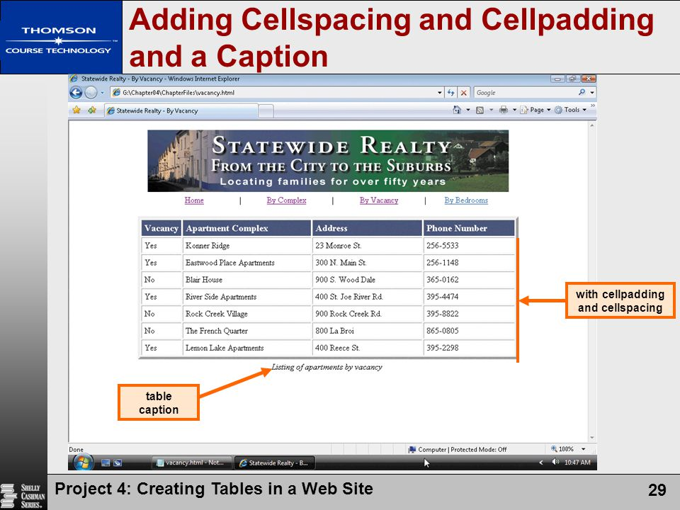 Project 4: Creating Tables in a Web Site 29 Adding Cellspacing and Cellpadding and a Caption with cellpadding and cellspacing table caption