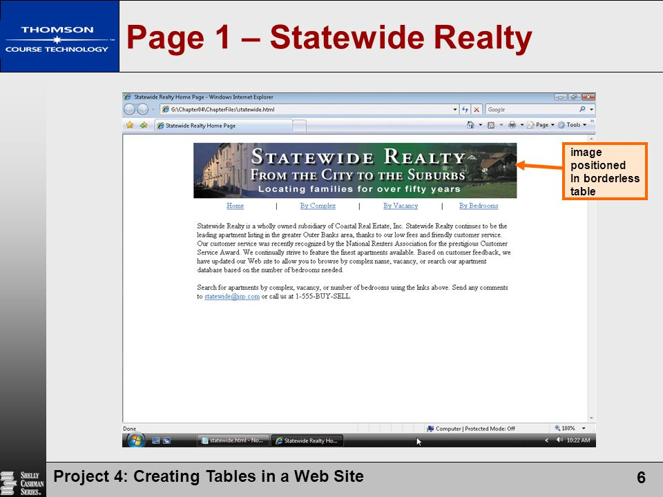 Project 4: Creating Tables in a Web Site 6 Page 1 – Statewide Realty image positioned In borderless table