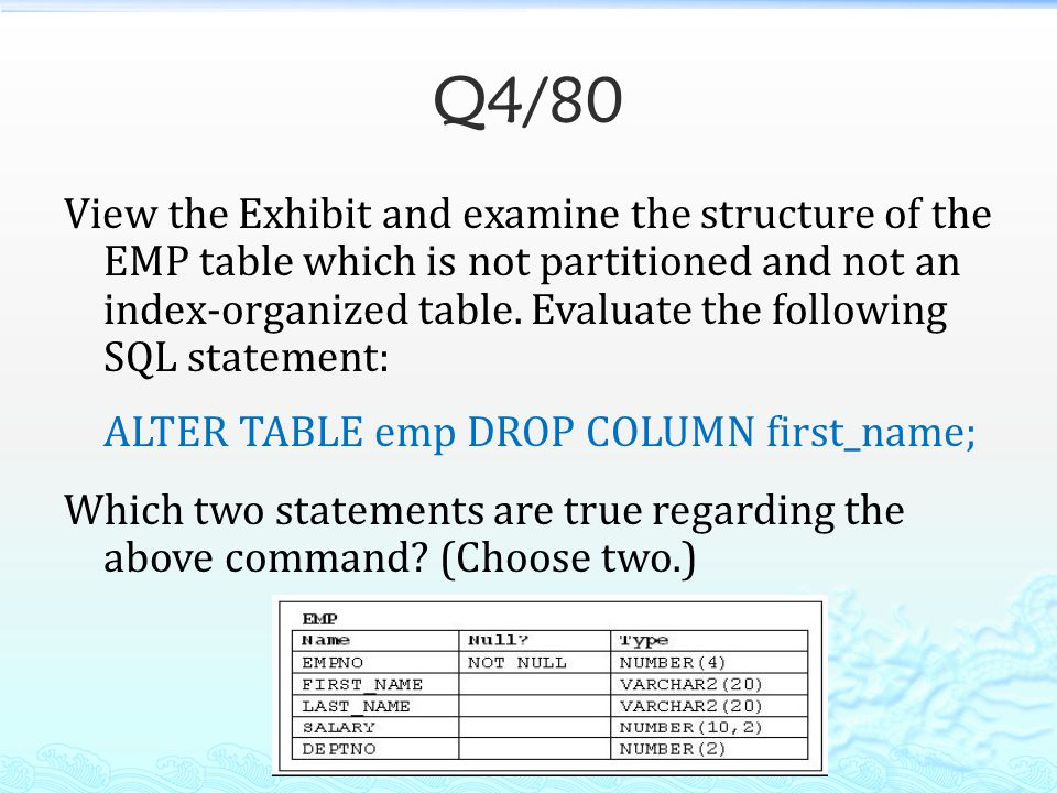 Q4/80 View the Exhibit and examine the structure of the EMP table which is not partitioned and not an index-organized table. Evaluate the following SQ