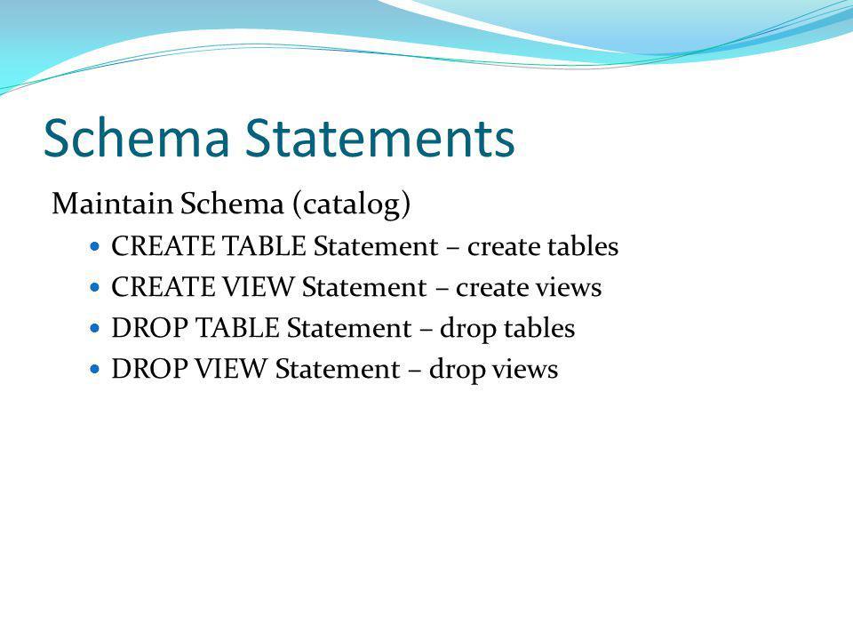 Schema Statements Maintain Schema (catalog) CREATE TABLE Statement – create tables CREATE VIEW Statement – create views DROP TABLE Statement – drop ta