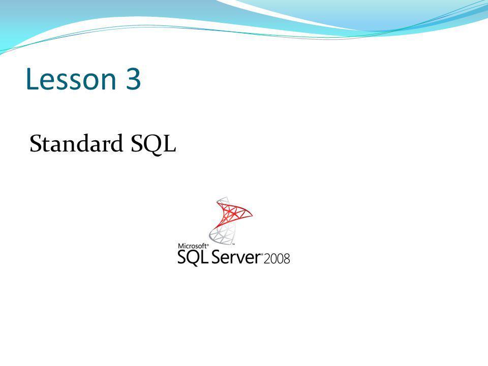 Lesson 3 Standard SQL