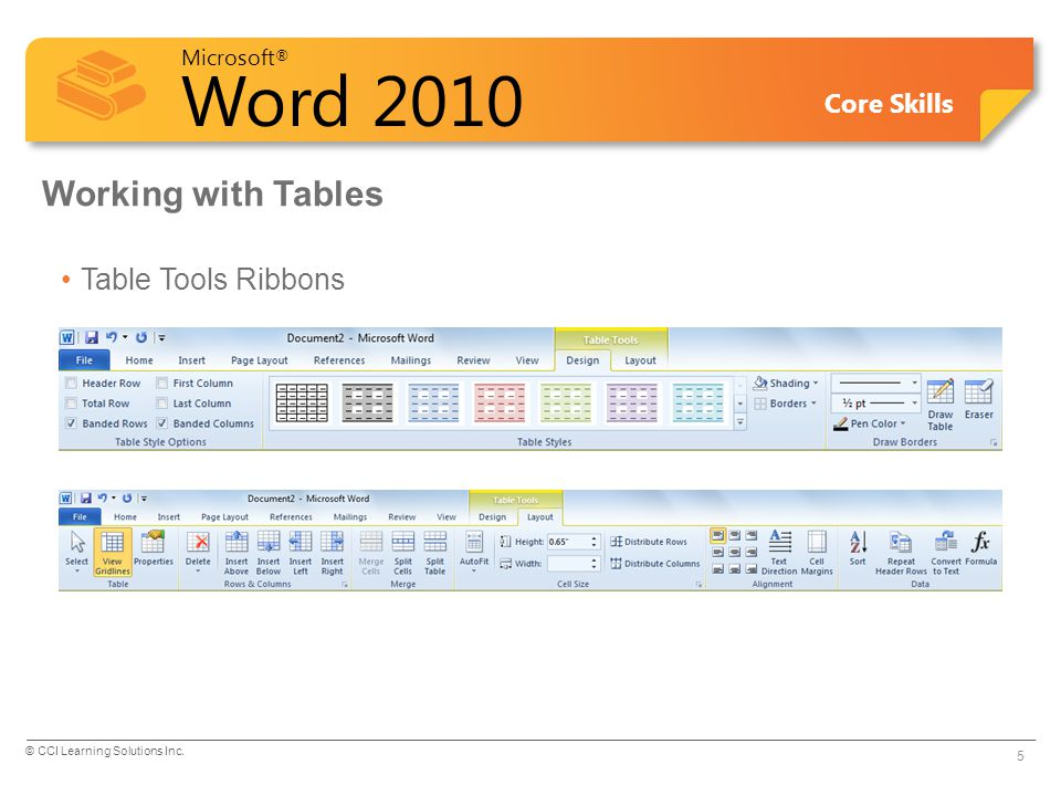 Microsoft ® Word 2010 Core Skills Working with Tables Table Tools Ribbons 5 © CCI Learning Solutions Inc.