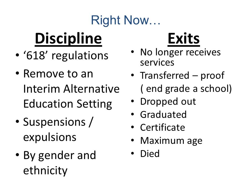 Right Now… Discipline 618 regulations Remove to an Interim Alternative Education Setting Suspensions / expulsions By gender and ethnicity Exits No longer receives services Transferred – proof ( end grade a school) Dropped out Graduated Certificate Maximum age Died