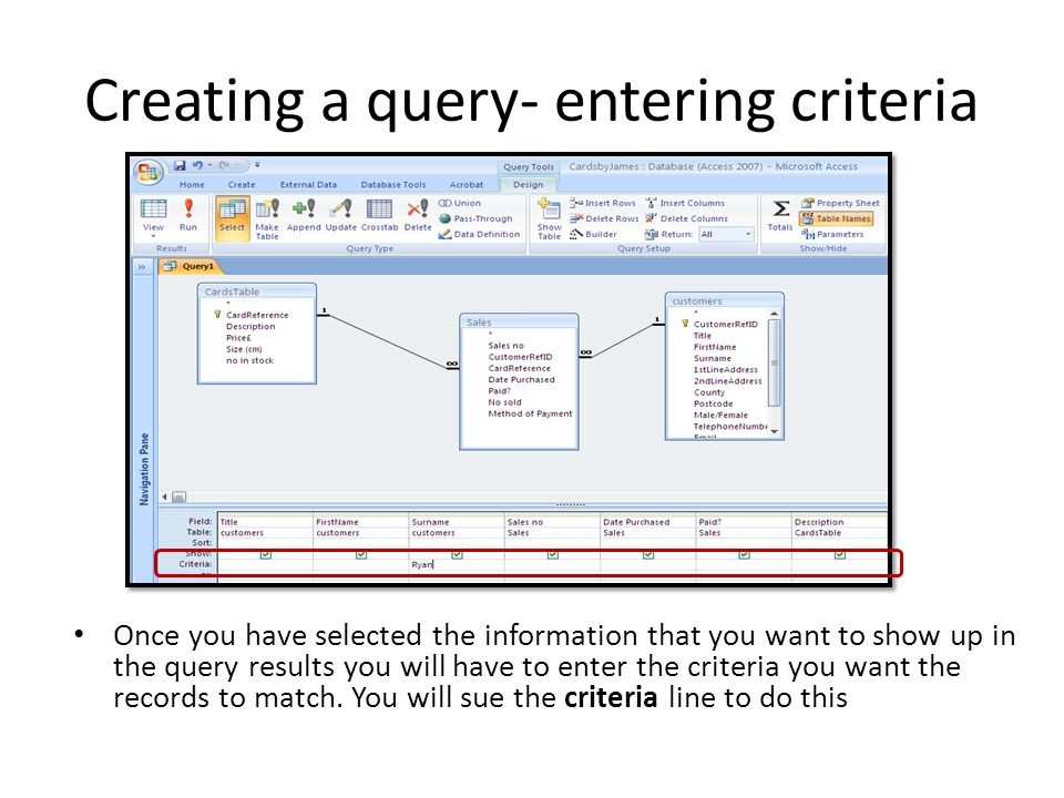 DIFFERENT TYPES OF QUERIES The following slides will take your through some examples of different Queries The examples are based on a Music Database.