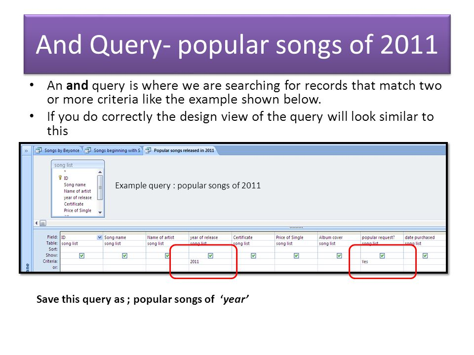 Wildcard query- songs beginning with A wild card query uses the * symbol to find criteria that begins, ends or contains a particular letter.