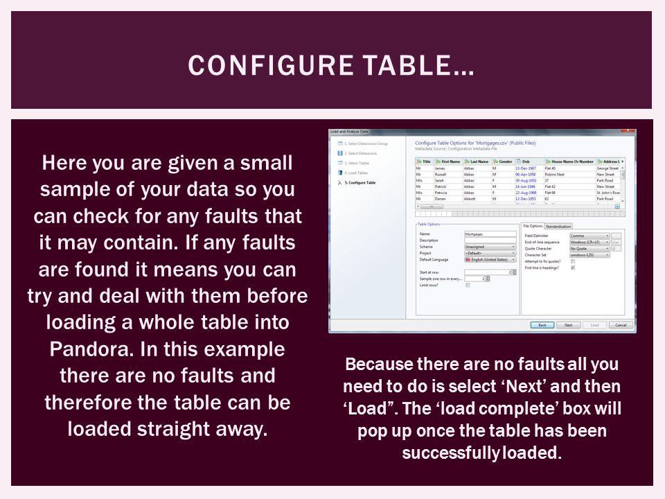 CONFIGURE TABLE… Here you are given a small sample of your data so you can check for any faults that it may contain.