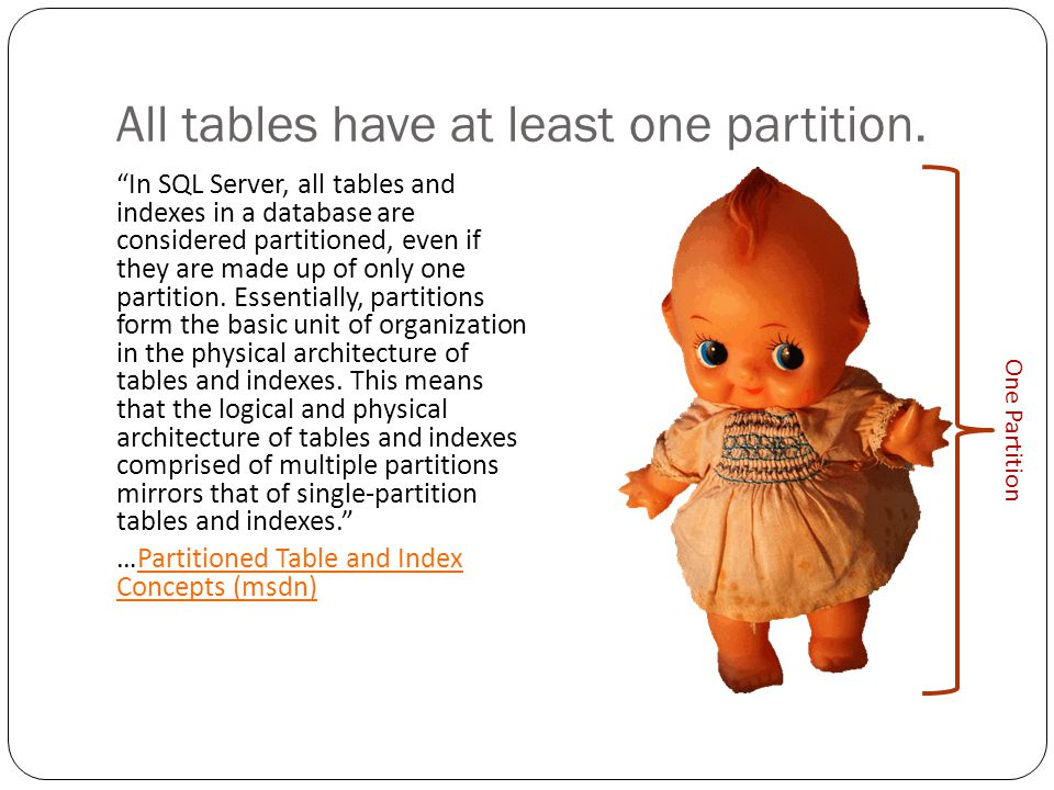Partitioning actually means horizontal partitioning Horizontal partitioning takes groups of rows in a single table and allocates them in semi- independent physical sections.