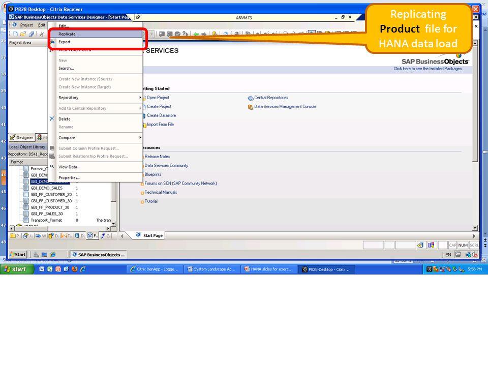 Replicating Product file for HANA data load