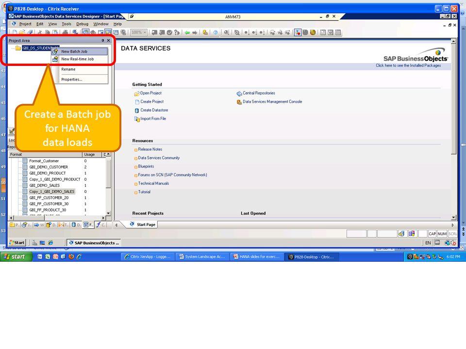 Create a Batch job for HANA data loads