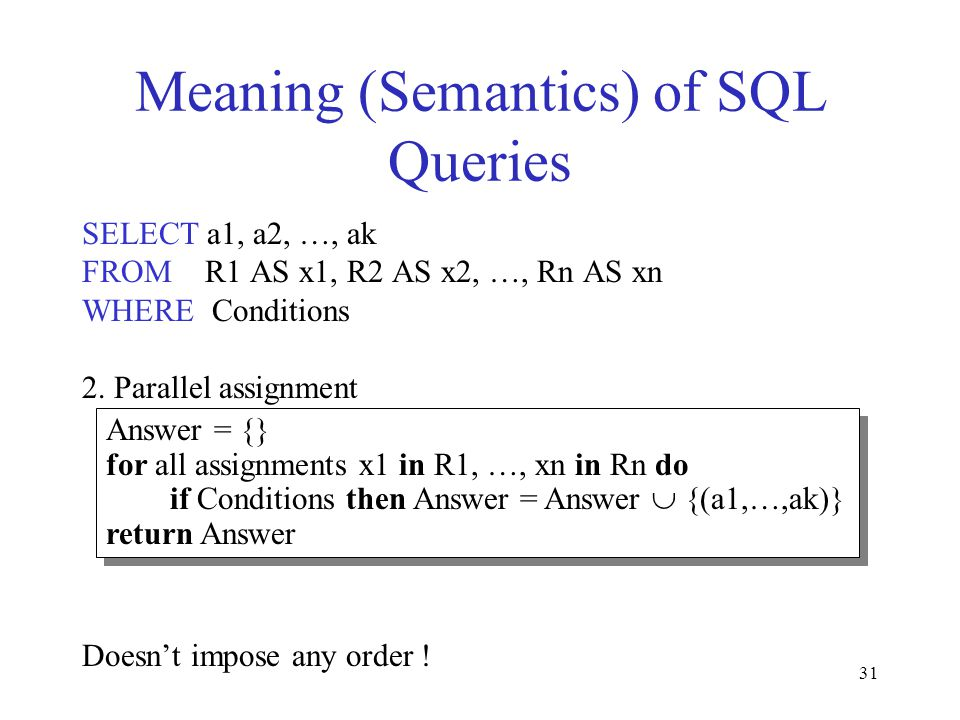 31 Meaning (Semantics) of SQL Queries SELECT a1, a2, …, ak FROM R1 AS x1, R2 AS x2, …, Rn AS xn WHERE Conditions 2.