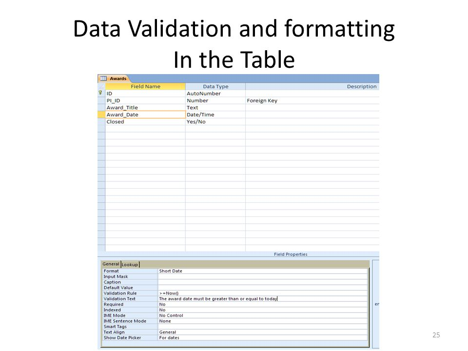 Data Validation and formatting In the Table 25