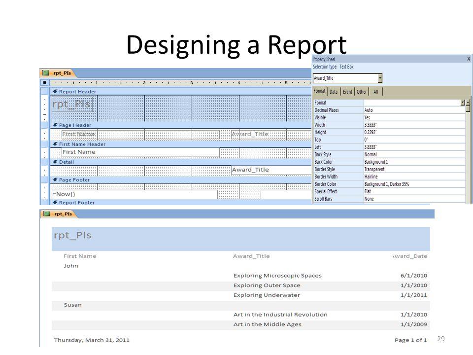 Designing a Report 29