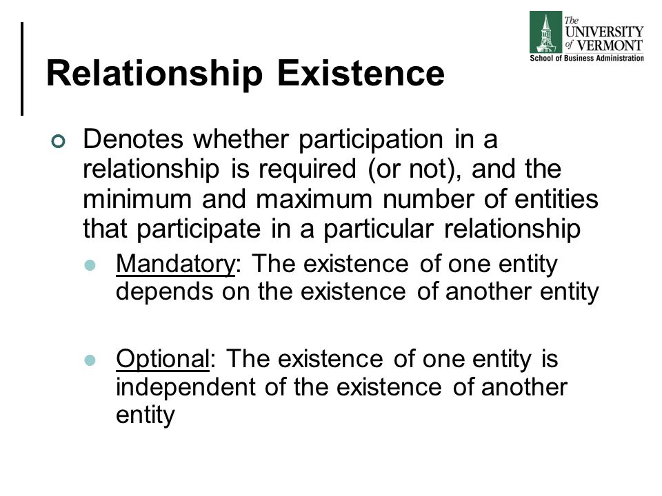 Relationship Existence Denotes whether participation in a relationship is required (or not), and the minimum and maximum number of entities that participate in a particular relationship Mandatory: The existence of one entity depends on the existence of another entity Optional: The existence of one entity is independent of the existence of another entity