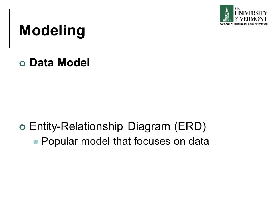 Modeling Data Model Entity-Relationship Diagram (ERD) Popular model that focuses on data