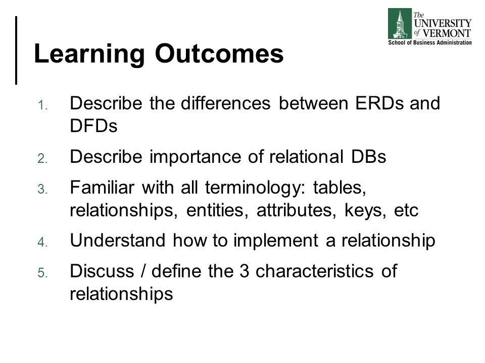 Learning Outcomes 1. Describe the differences between ERDs and DFDs 2.