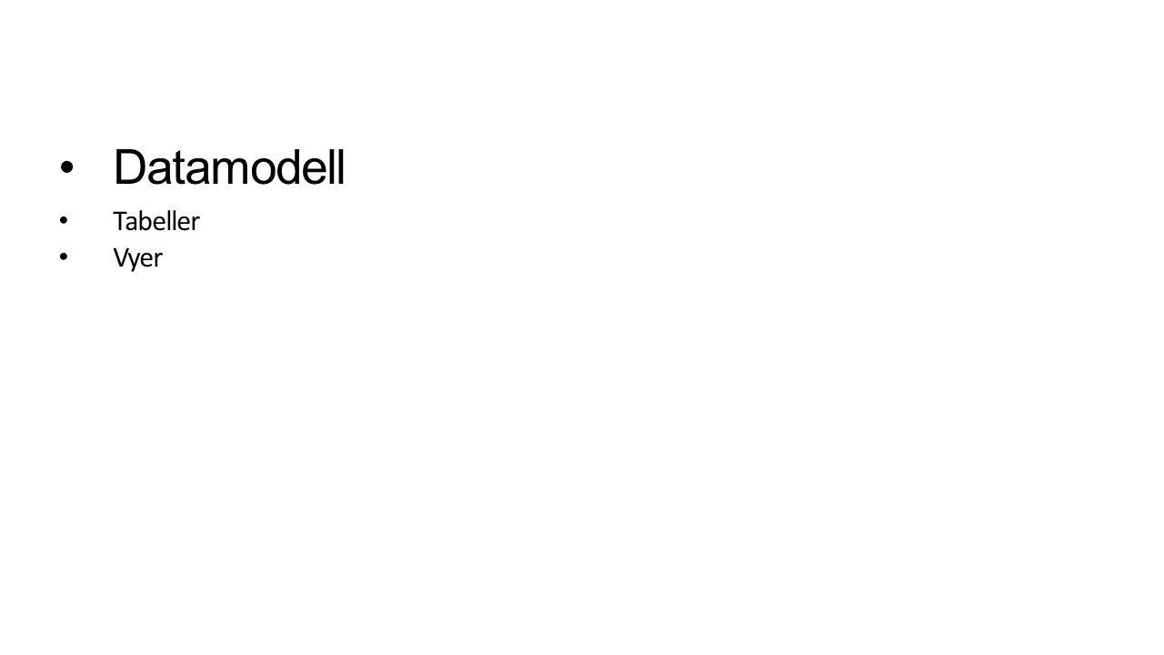 Datamodell Tabeller Vyer
