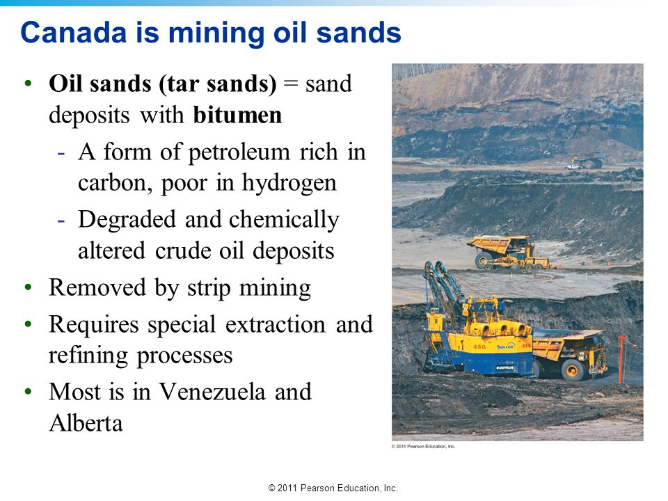 © 2011 Pearson Education, Inc. Canada is mining oil sands Oil sands (tar sands) = sand deposits with bitumen -A form of petroleum rich in carbon, poor