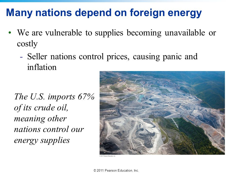 © 2011 Pearson Education, Inc. Many nations depend on foreign energy We are vulnerable to supplies becoming unavailable or costly -Seller nations cont